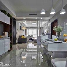 2018面积105平现代三居餐厅装修设计效果图片