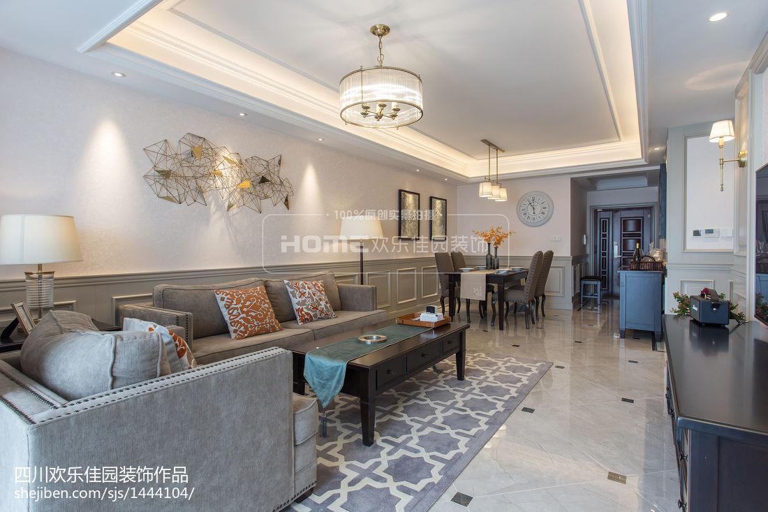201873平米二居客厅美式装修效果图