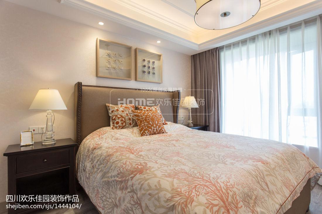 2018精选面积78平美式二居卧室装修欣赏图片