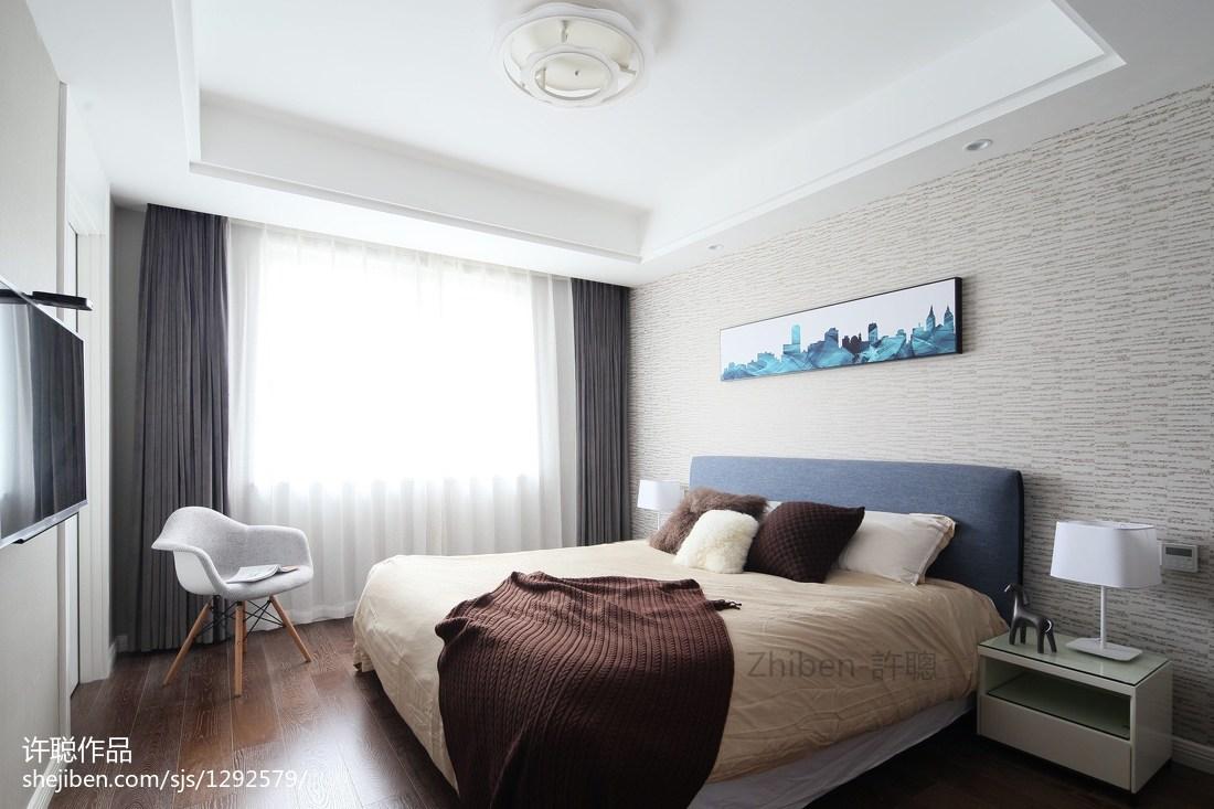 热门107平米三居卧室简约效果图片