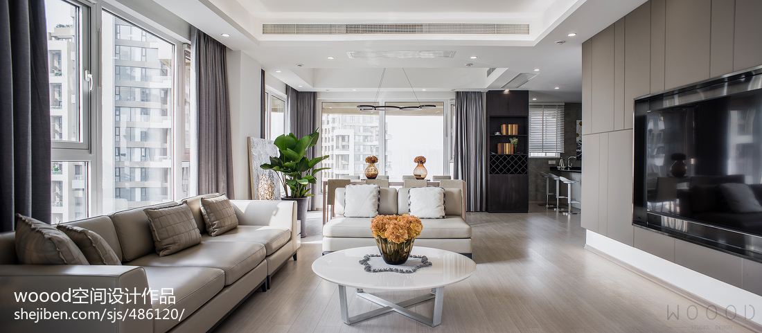 2018精选面积144平现代四居客厅实景图片欣赏