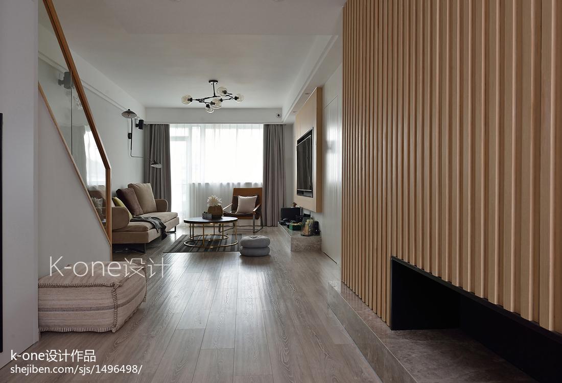 典雅120平简约复式客厅装修美图