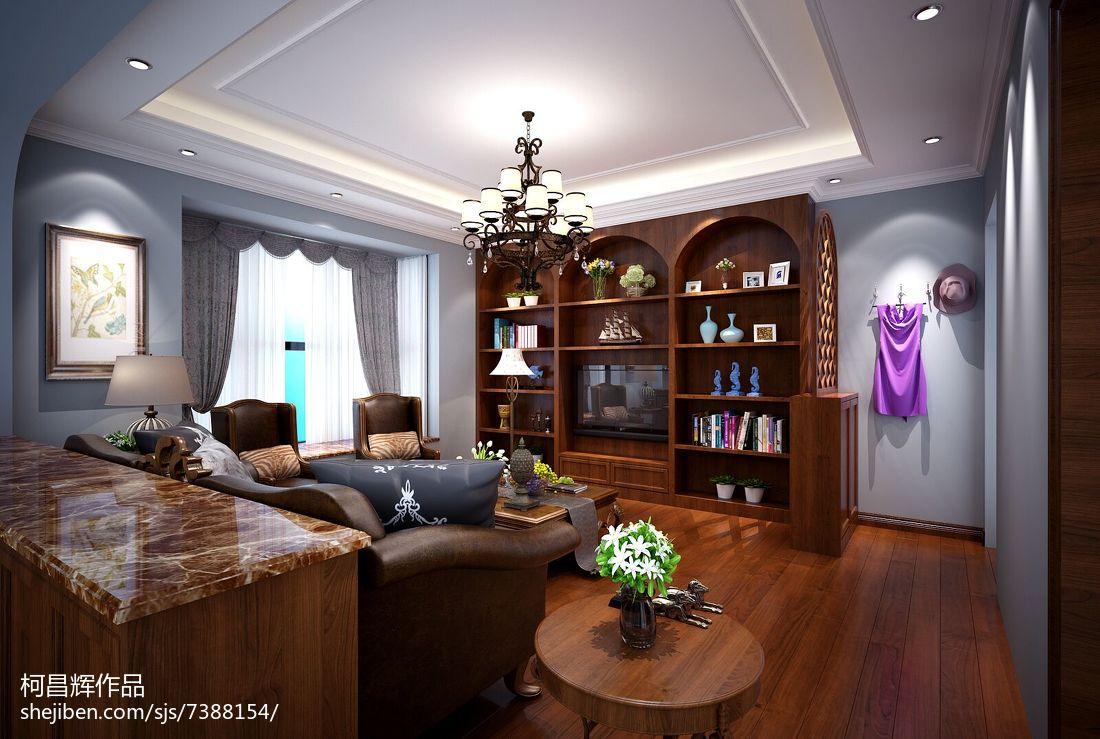 美式格调打造四居室客厅一角装修效果图