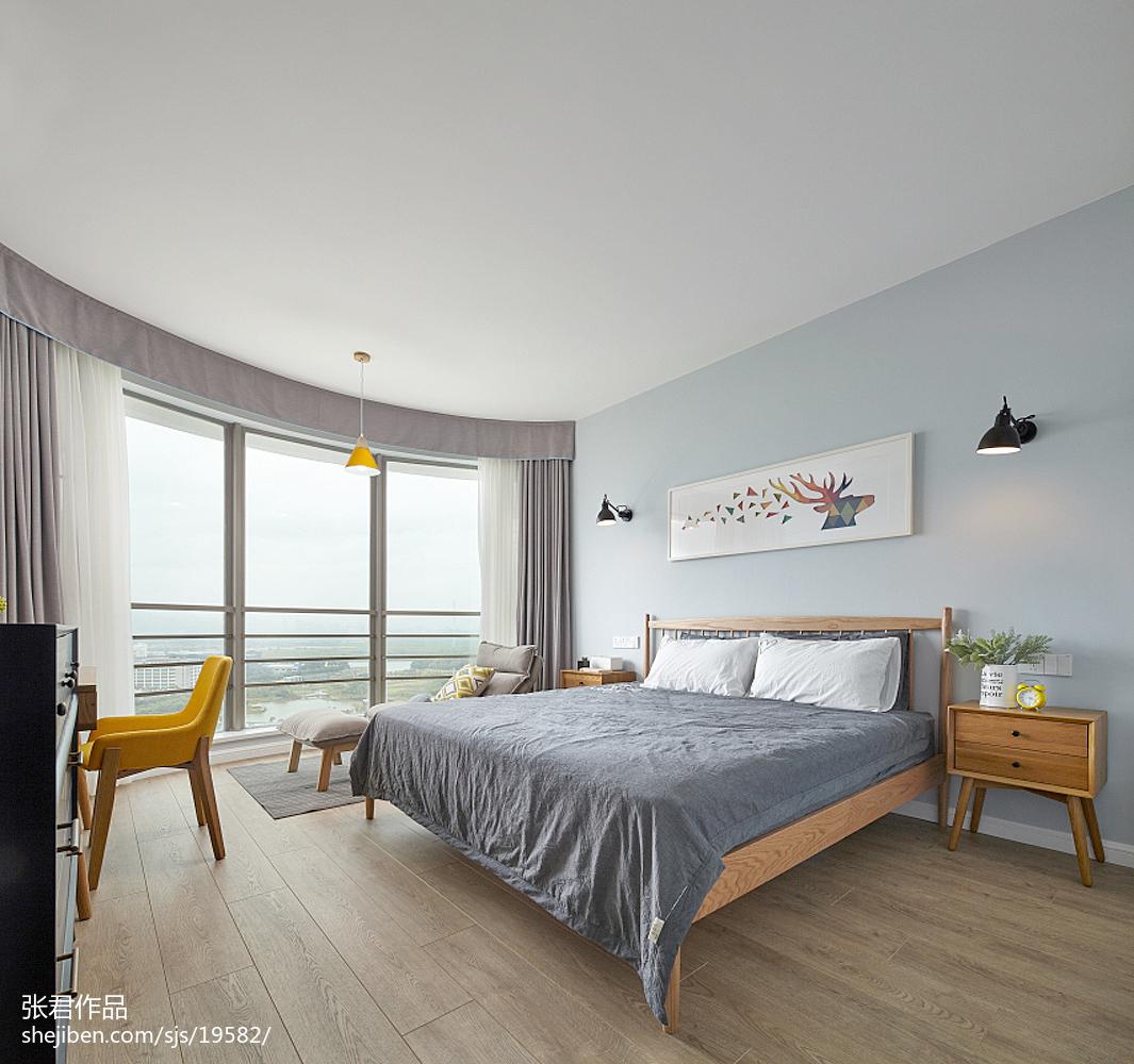 面积98平北欧三居卧室装修实景图