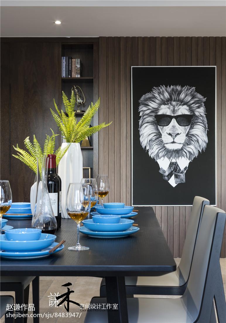 2018精选面积128平现代四居餐厅装饰图