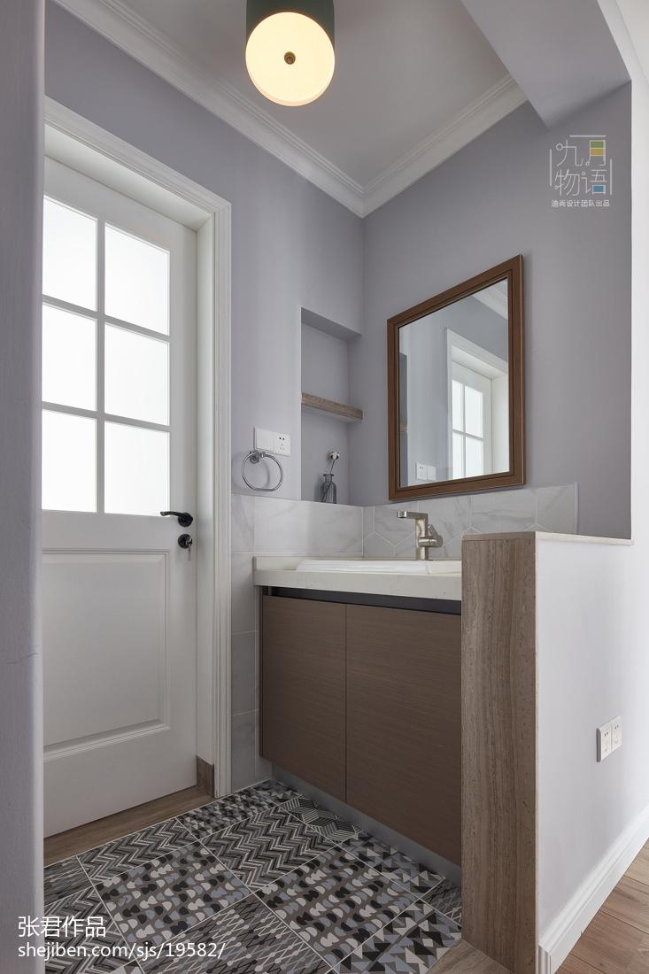 清新北欧风四居卫浴洗手台设计图