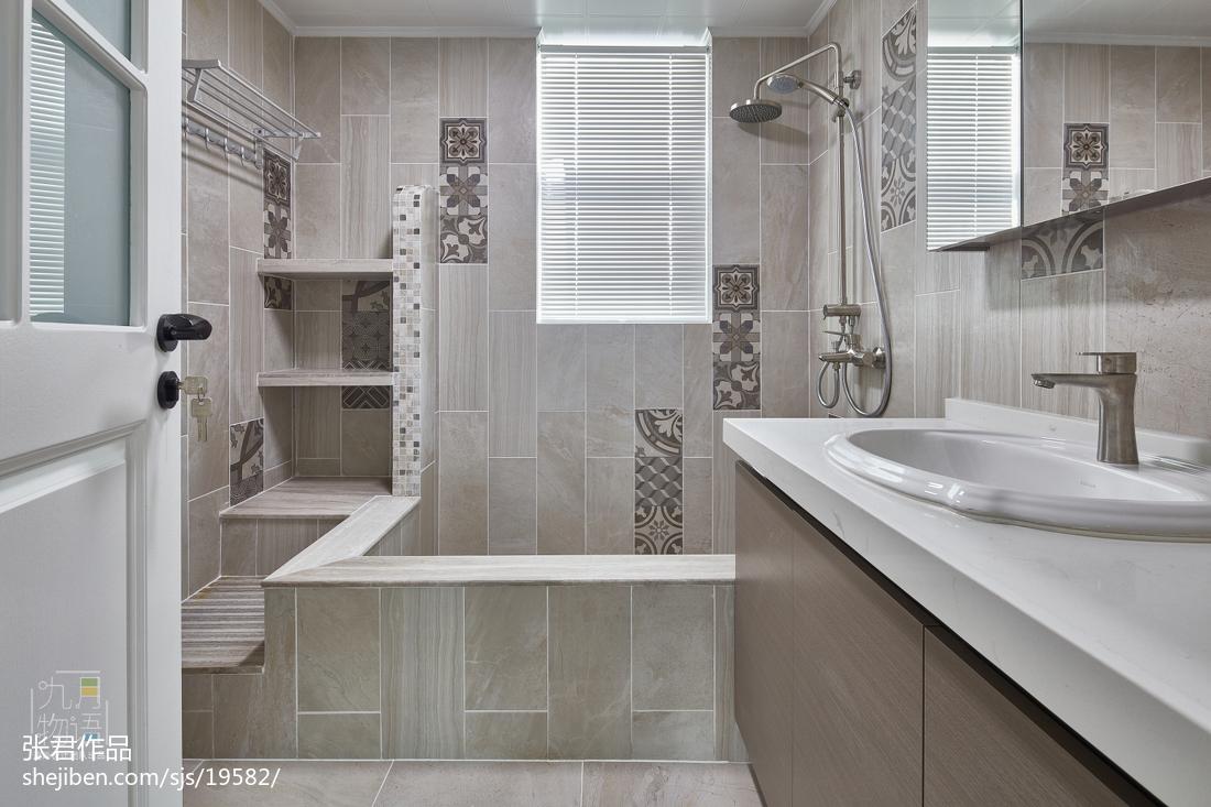 面积113平北欧四居卫生间装修设计效果图片