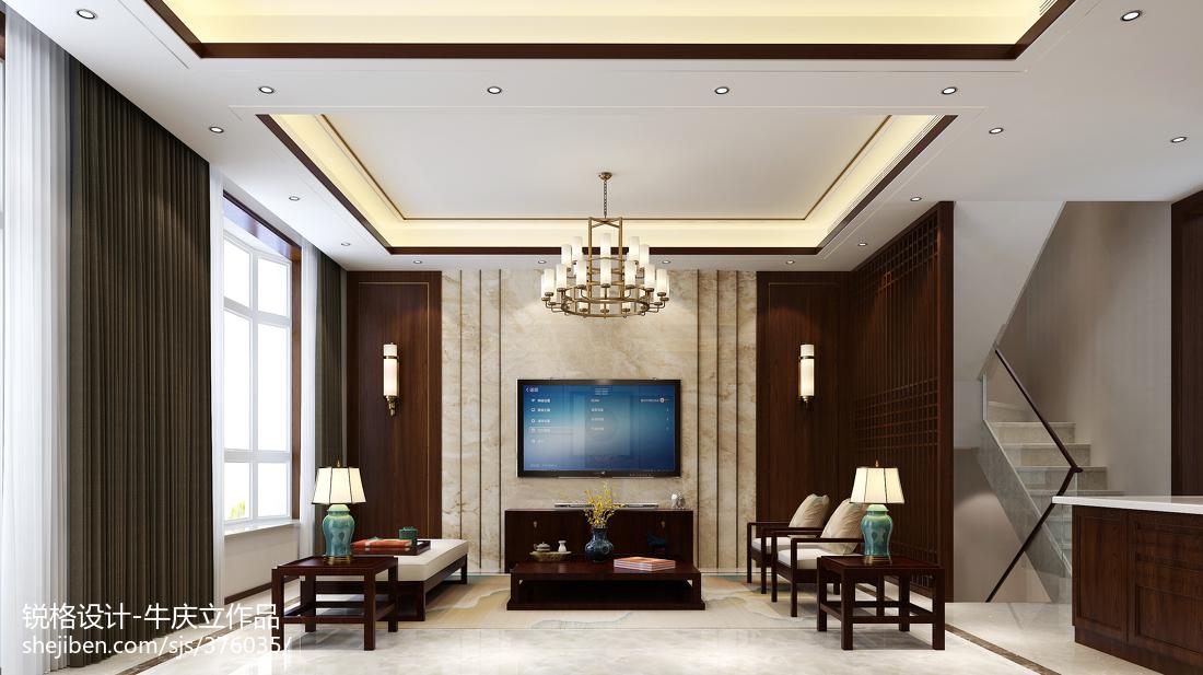 134平米中式别墅客厅设计效果图