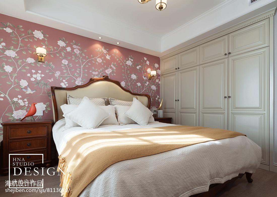 2018精选104平方三居卧室美式装修设计效果图片欣赏
