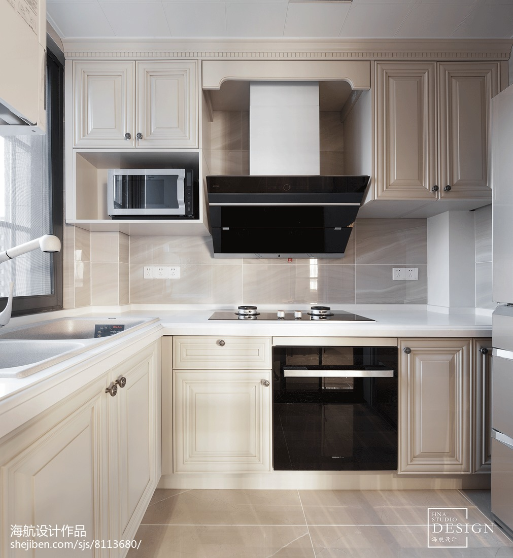 2018精选面积95平美式三居厨房实景图片