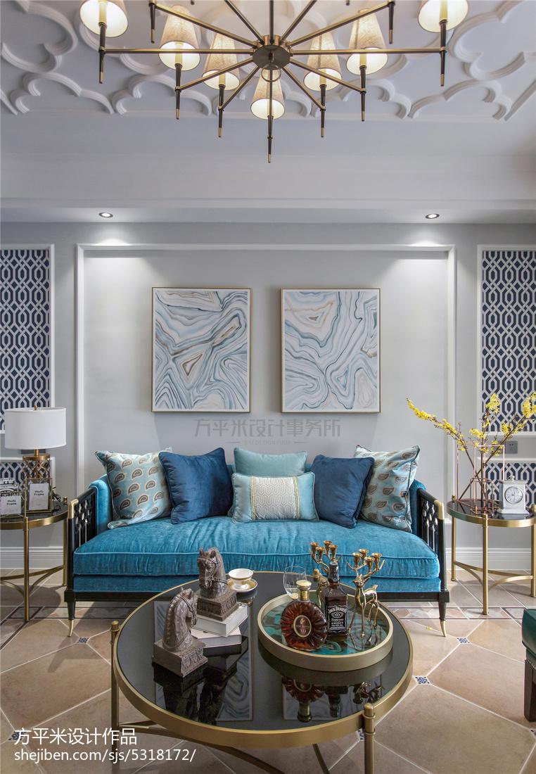 2019114平美式三居客厅装修装饰图