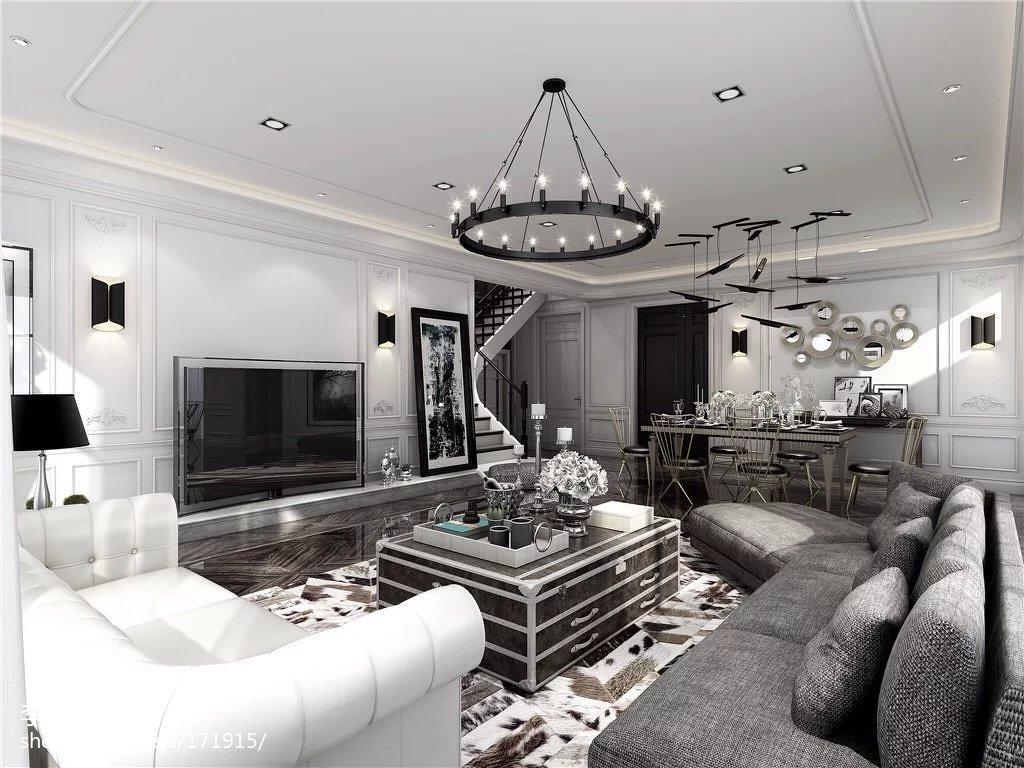 热门面积117平复式客厅效果图