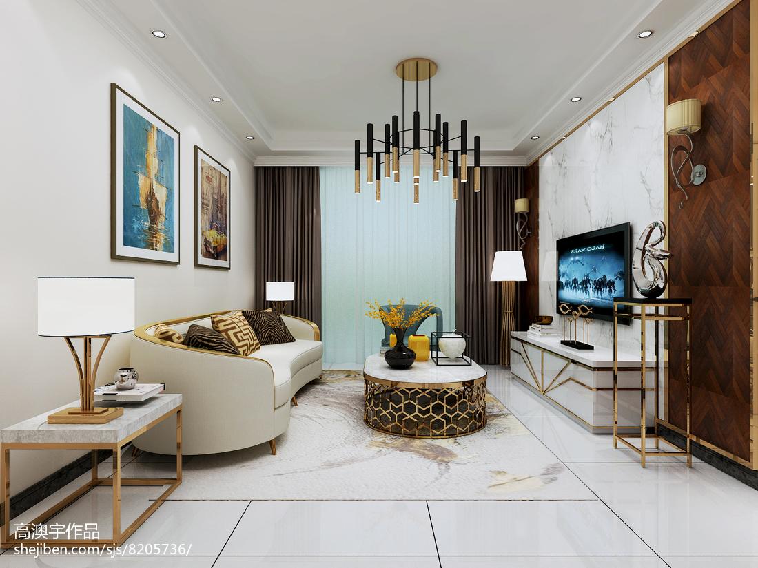2018面积87平小户型客厅现代装修设计效果图片大全