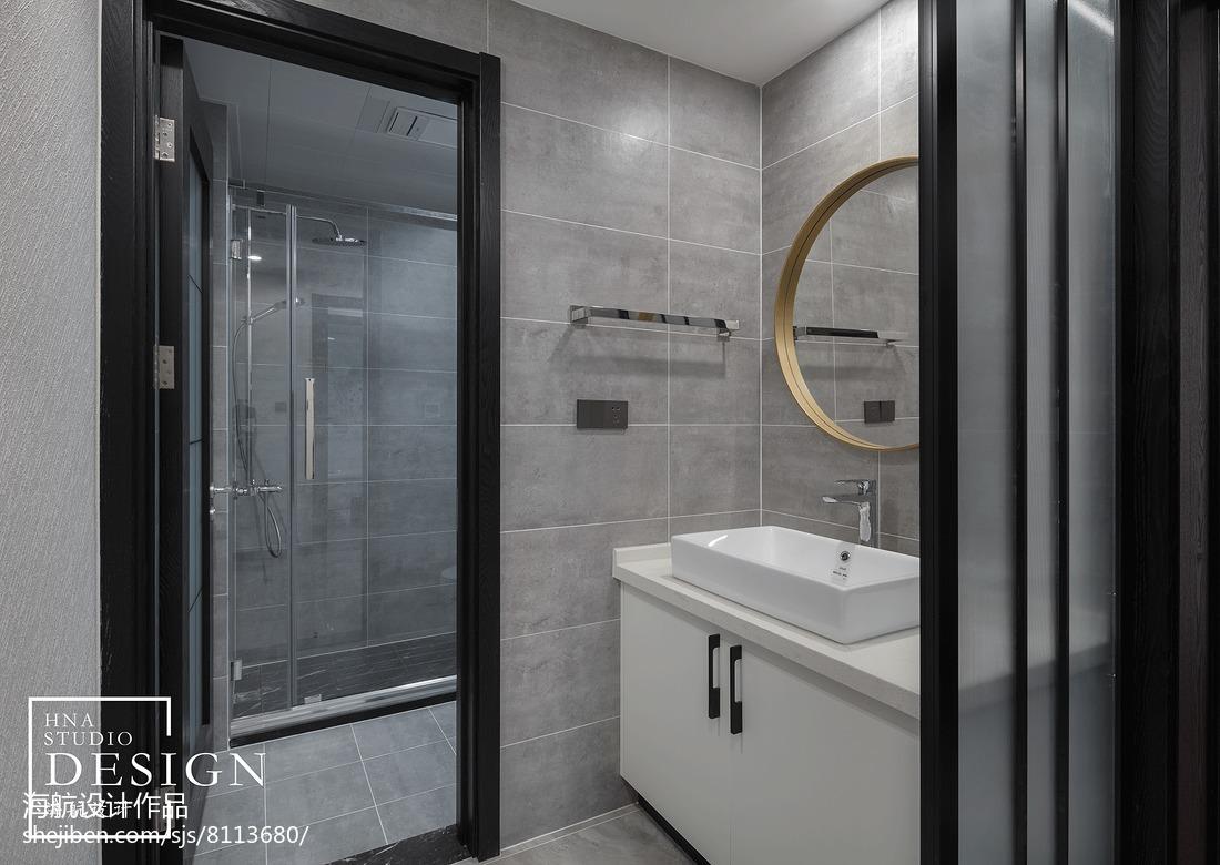 现代灰白系卫浴洗手台设计图