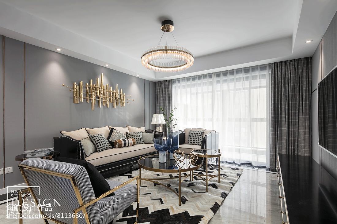 热门面积122平美式四居客厅装修实景图片欣赏
