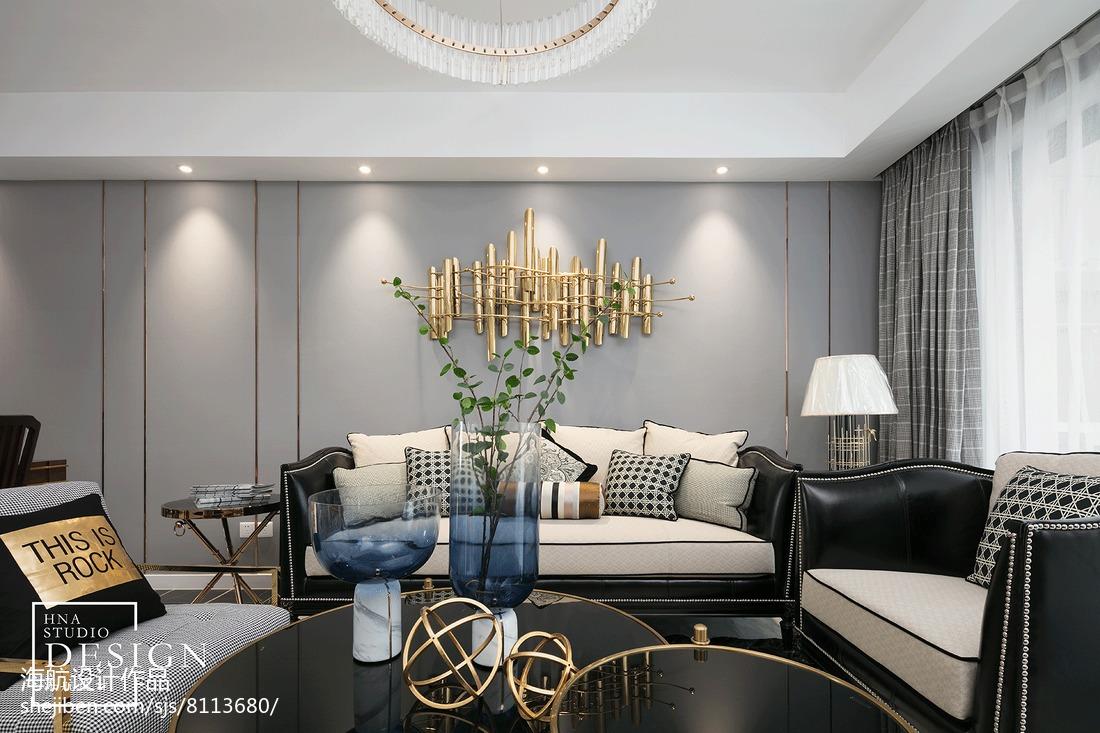 美式四居客厅背景装饰设计图