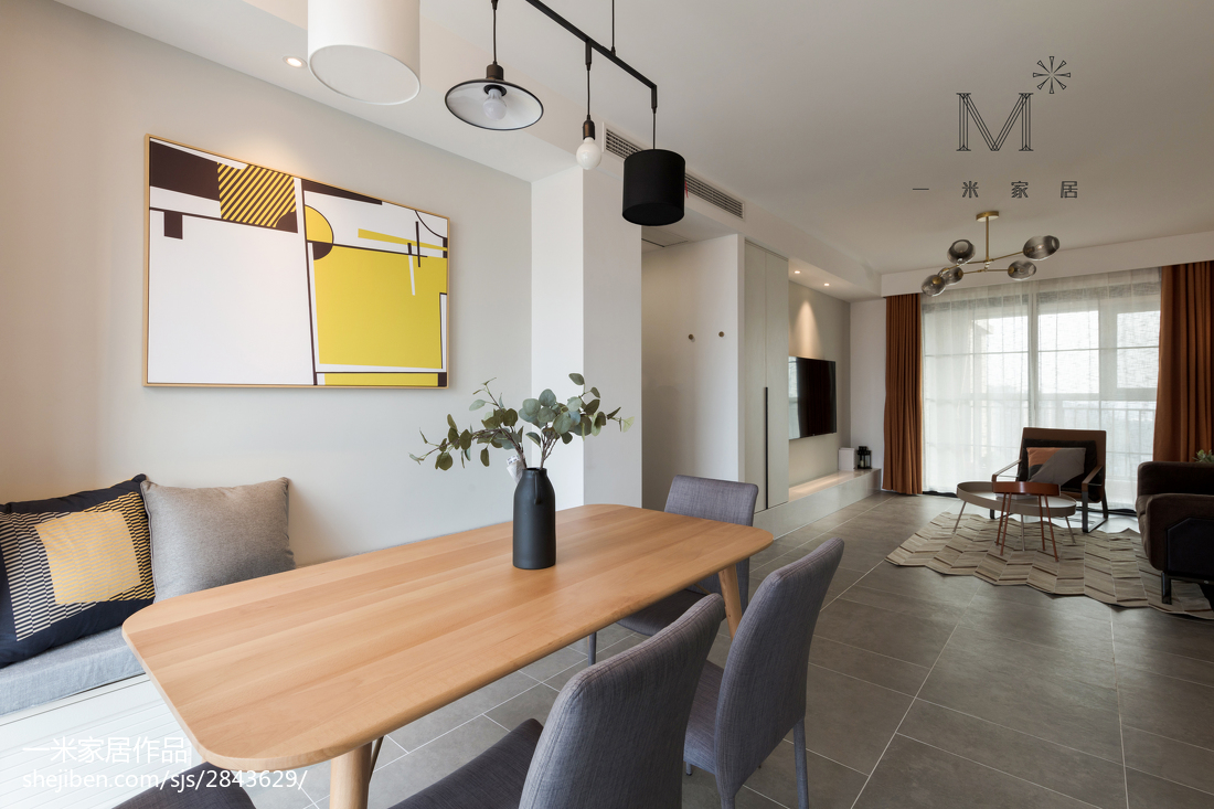 明亮52平现代二居餐厅装修案例