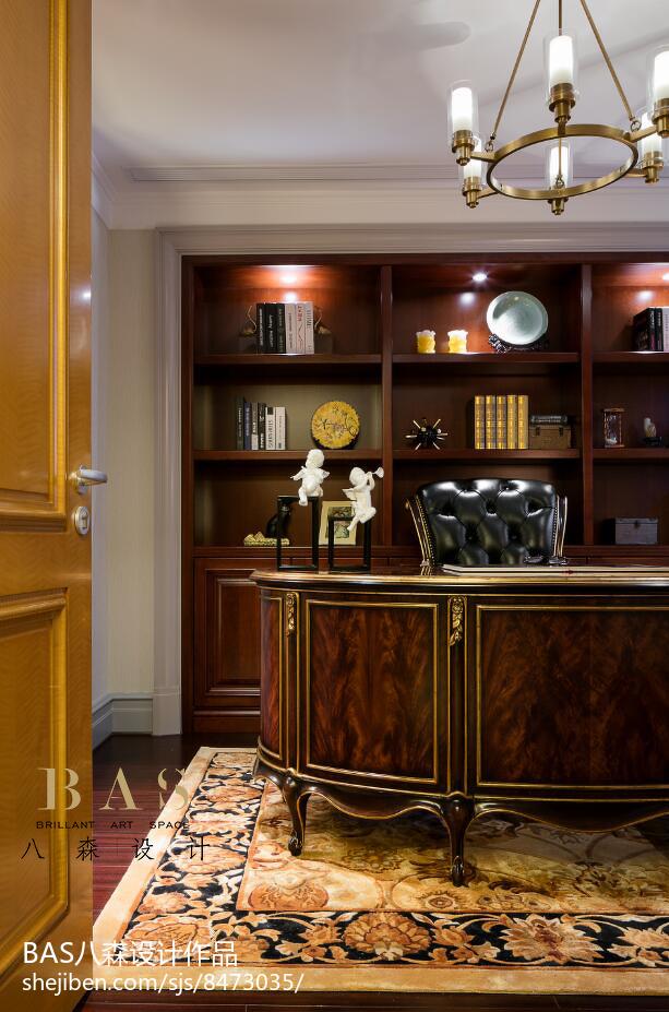 精美136平米欧式别墅书房实景图片