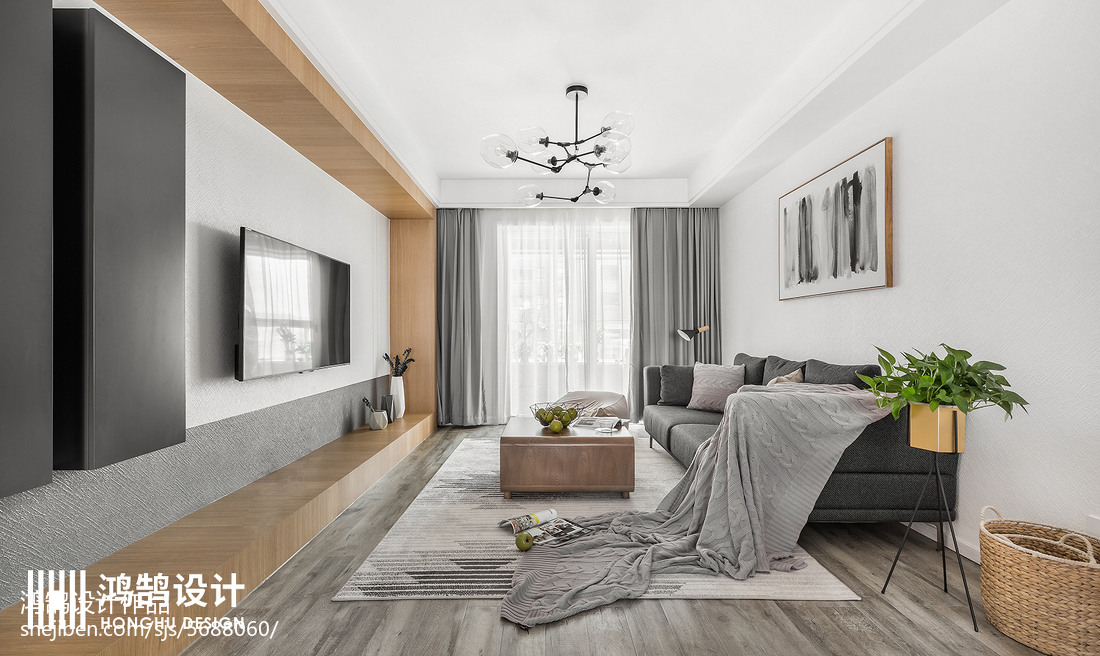 2018面积108平北欧三居客厅装饰图片大全