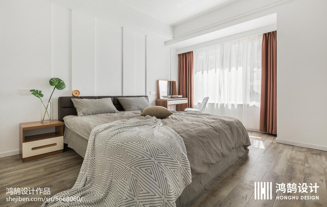 2018面积104平北欧三居卧室装修实景图