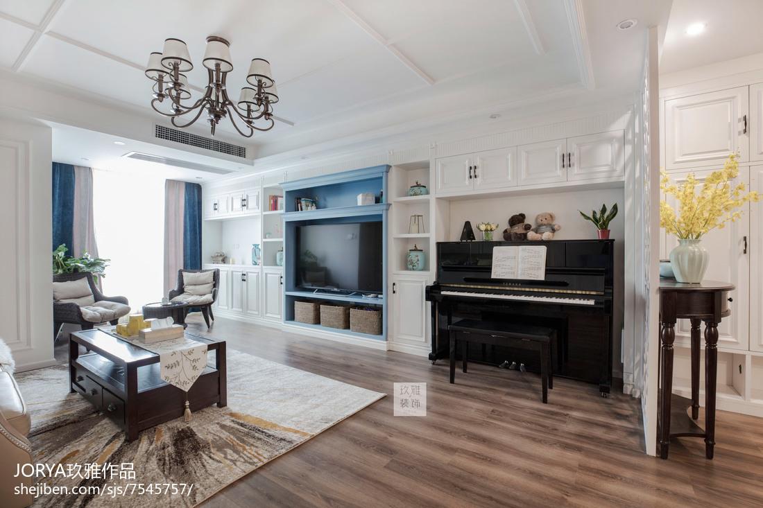 美式风三居客厅设计实景图