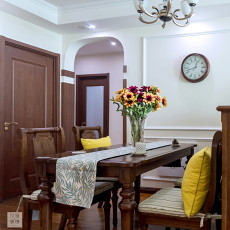 精美面积108平美式三居餐厅欣赏图