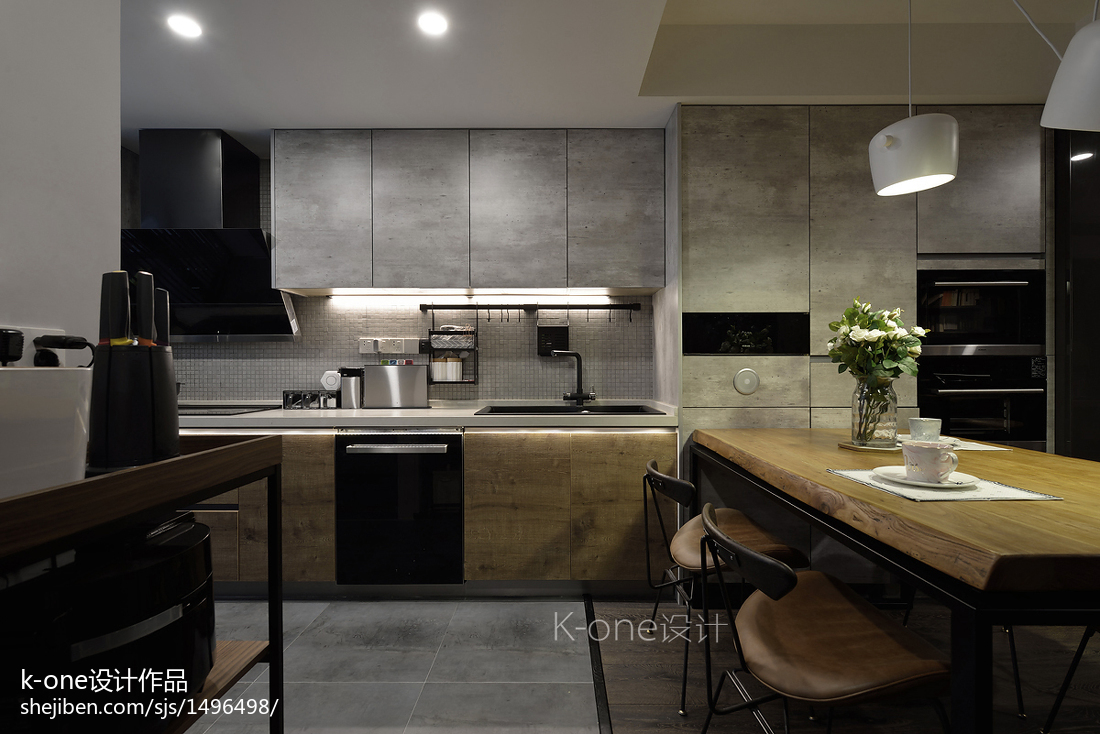 明亮80平简约二居厨房装修装饰图