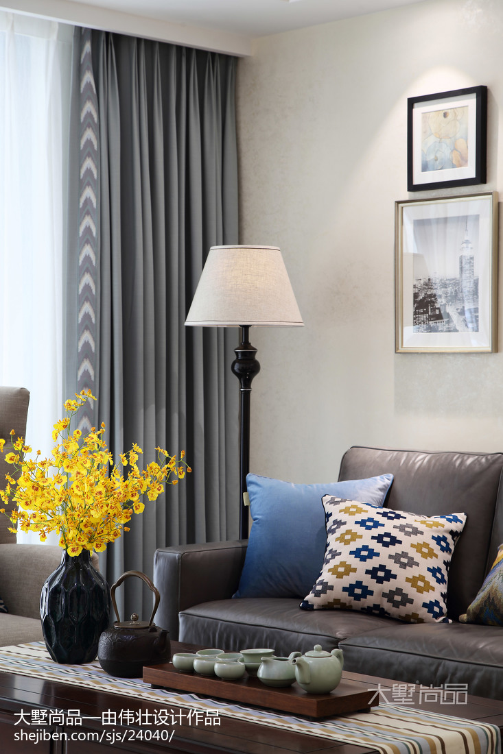 热门面积72平美式二居客厅效果图片大全