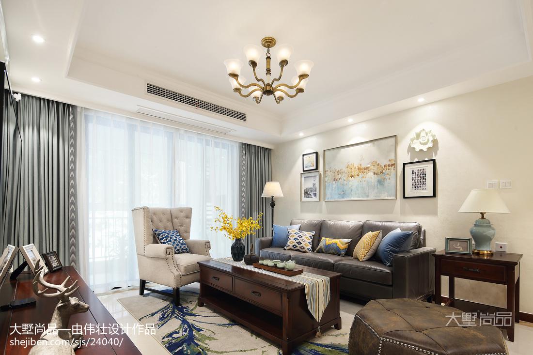 2018精选面积82平美式二居客厅装饰图片大全