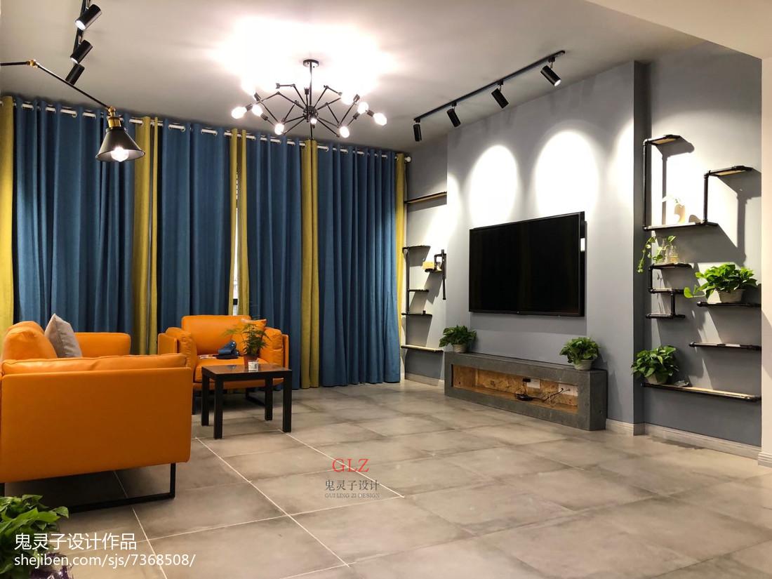 暗色调客厅石膏板吊顶装修效果图