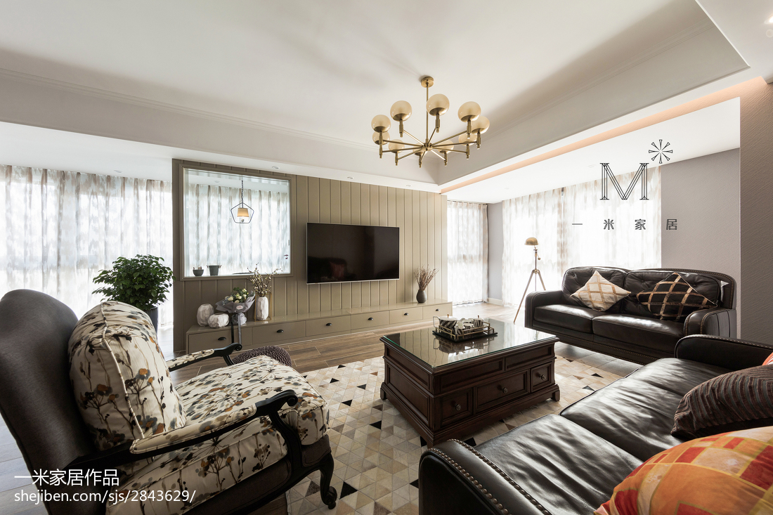 2018精选133平米四居客厅美式效果图片欣赏
