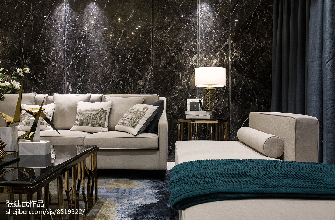精选面积140平简欧四居客厅装饰图