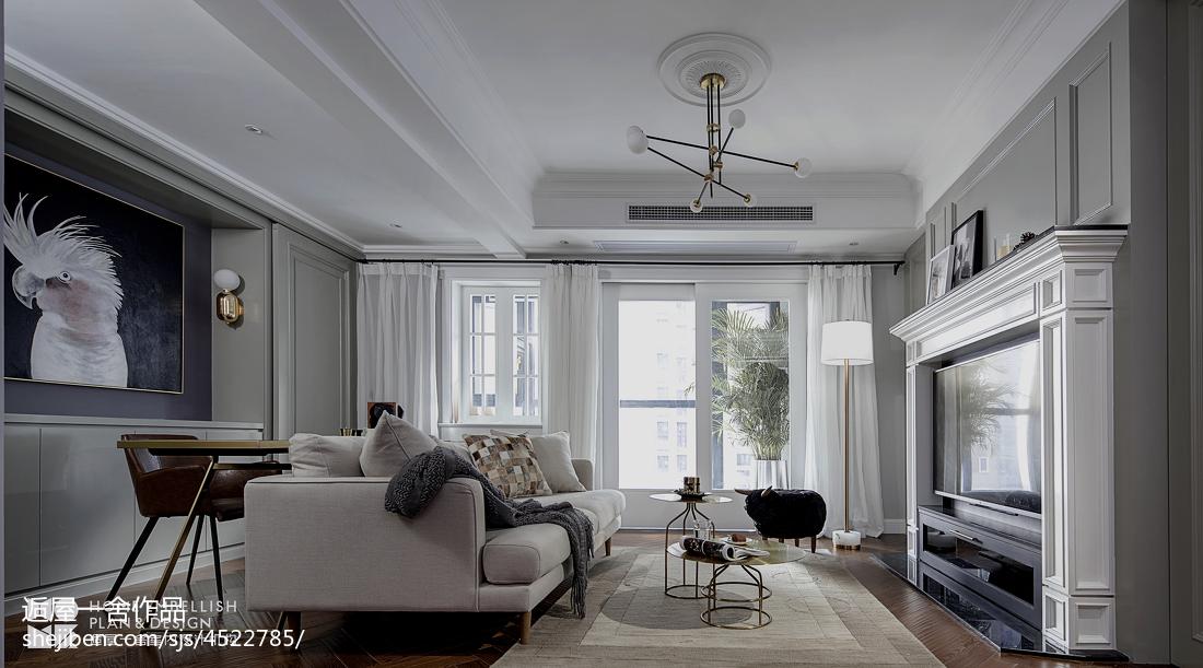 简洁90平美式二居客厅装潢图
