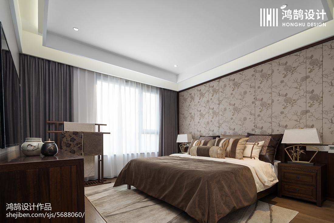 优美114平中式三居卧室装修美图