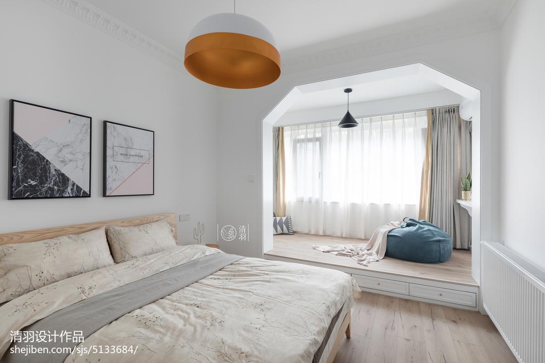 2018精选96平米三居卧室北欧装修实景图片