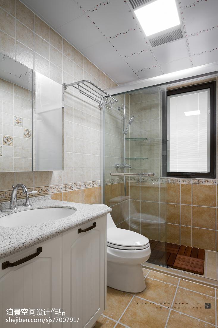 精美面积103平美式三居卫生间效果图片
