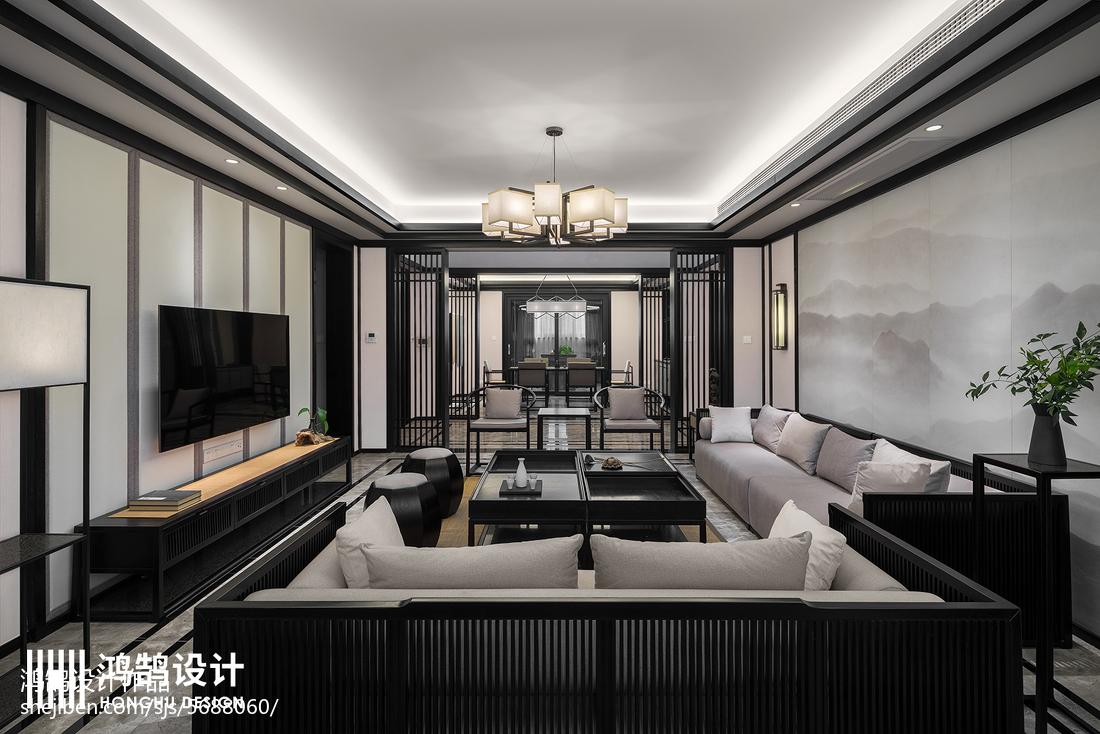 2018三居客厅中式装修实景图