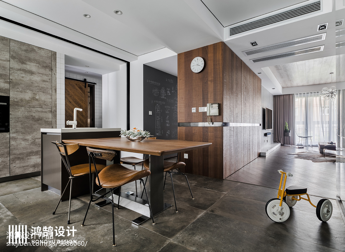 2018精选大小95平现代三居餐厅装修效果图片欣赏
