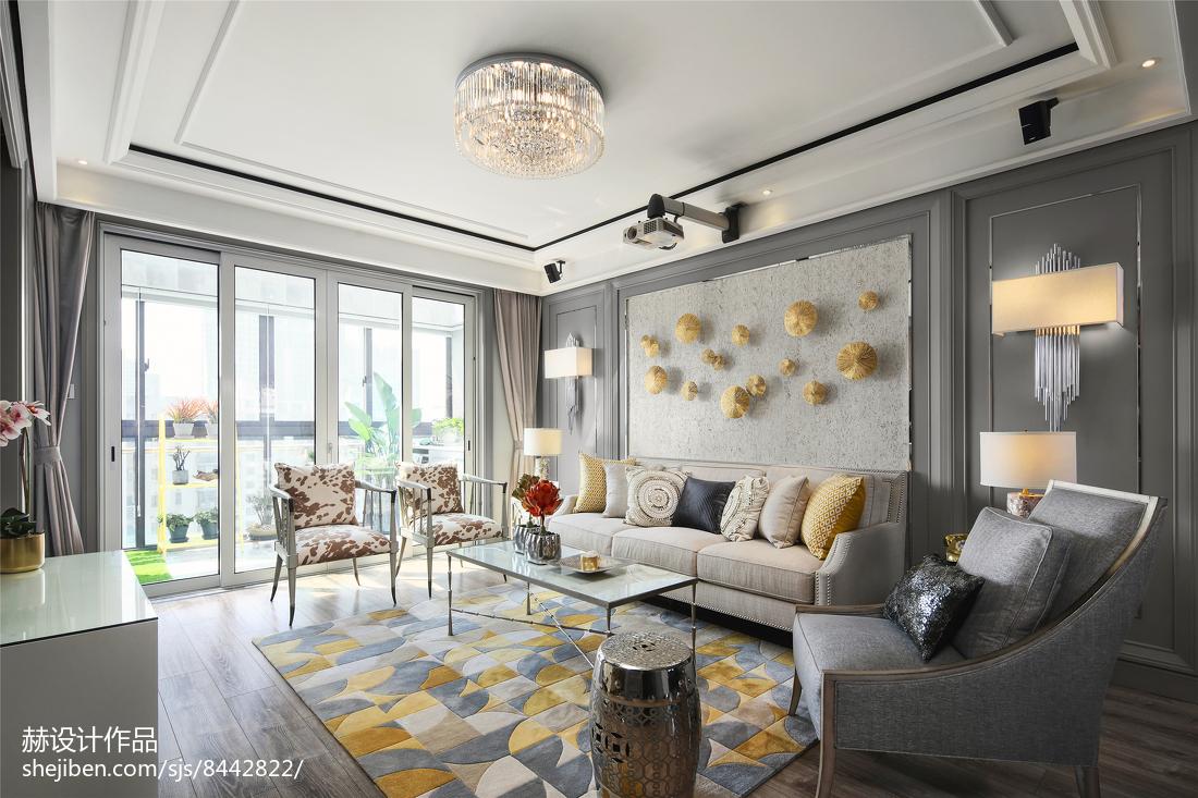 热门76平米二居客厅美式实景图