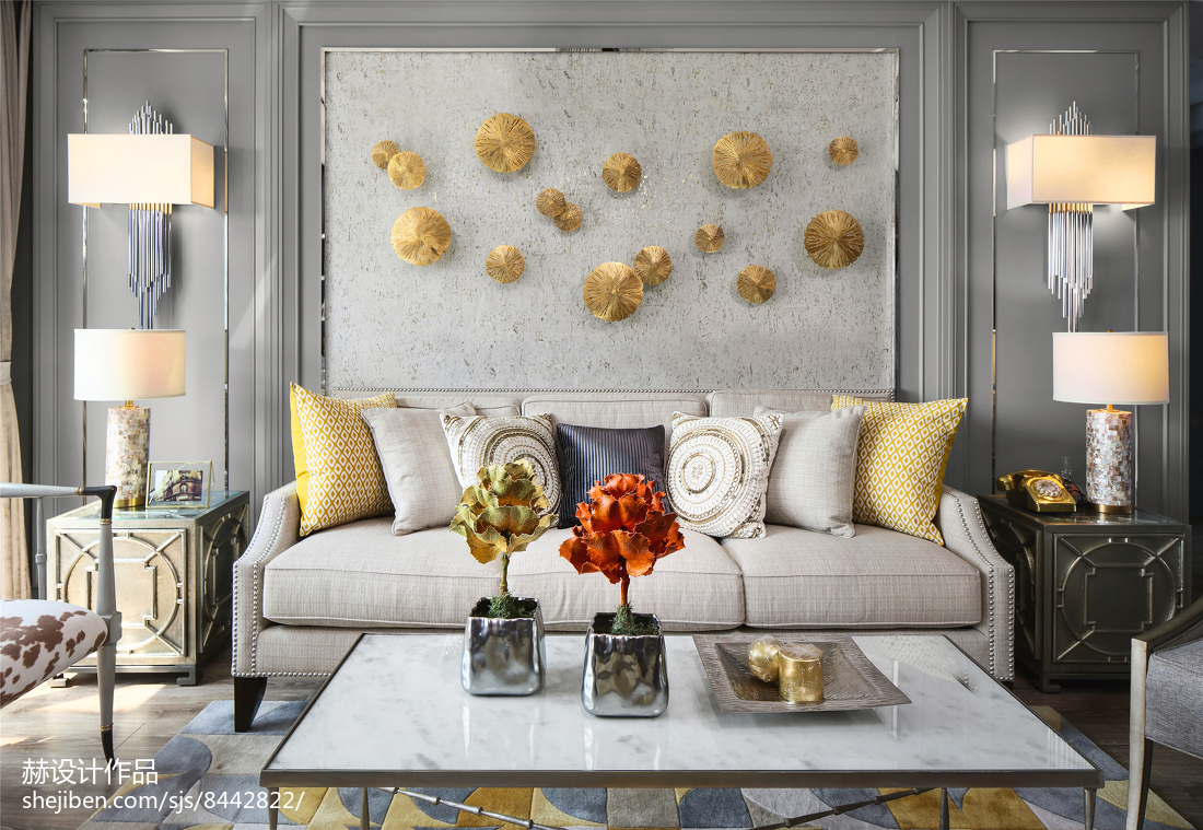 2018精选面积79平美式二居客厅装修实景图片