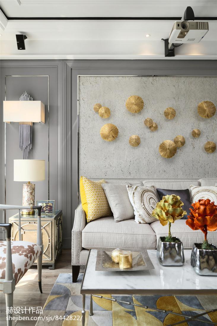精选面积90平美式二居客厅装修效果图片