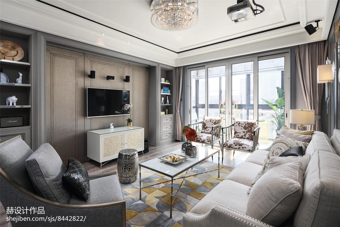 2018精选面积83平美式二居客厅装修实景图片欣赏
