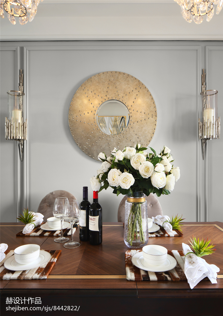 面积87平美式二居餐厅装修图片欣赏