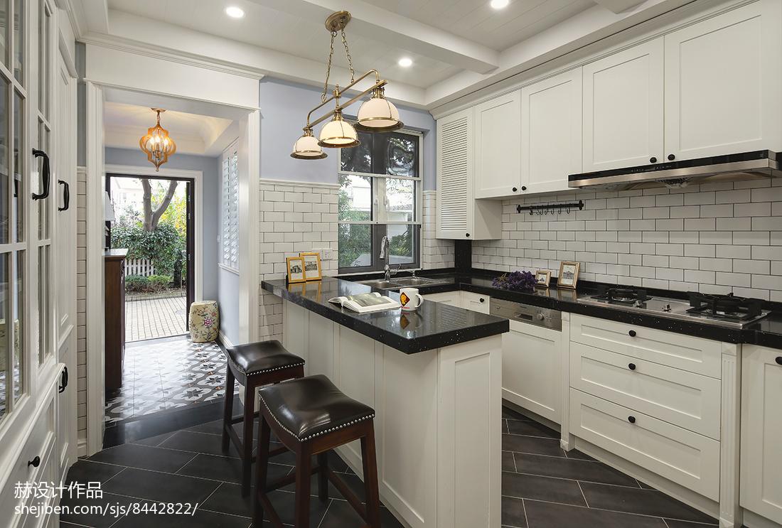 热门大小112平别墅厨房美式装饰图片大全