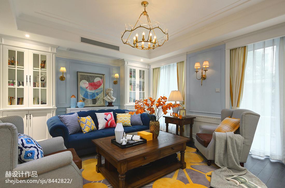 2018124平米美式别墅客厅装饰图片大全