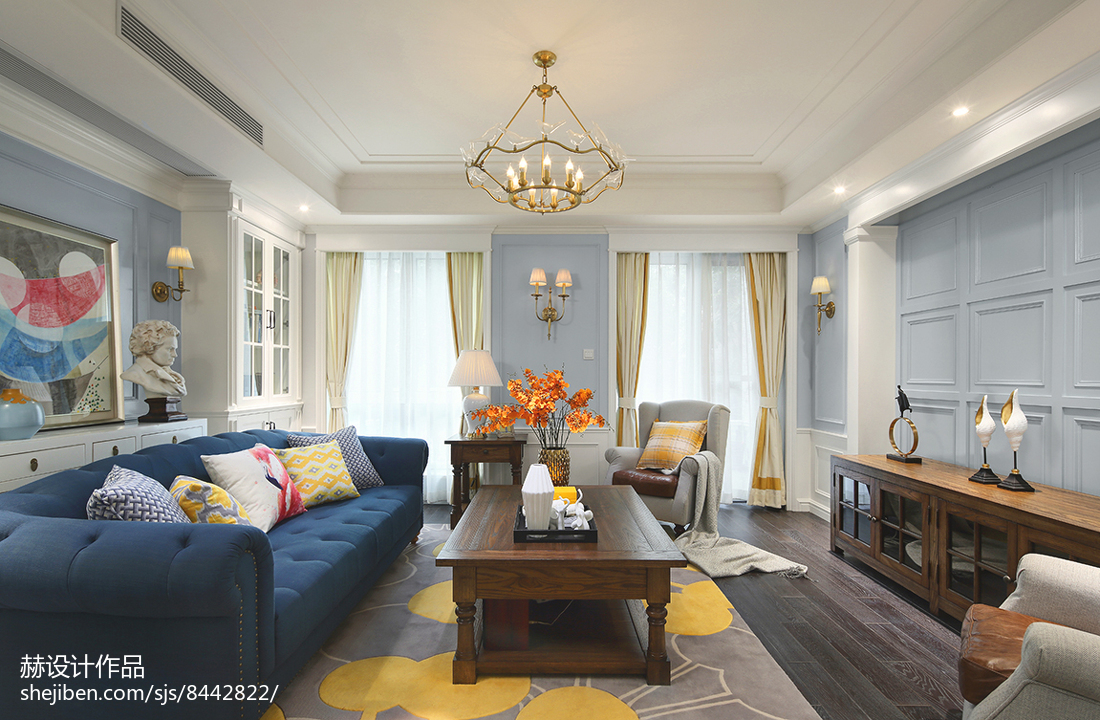 精选112平米美式别墅客厅实景图片