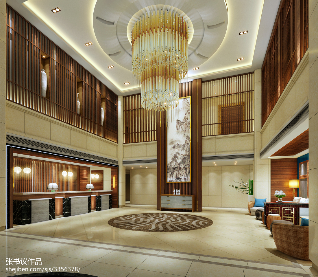 时尚中式酒店装饰设计效果图片