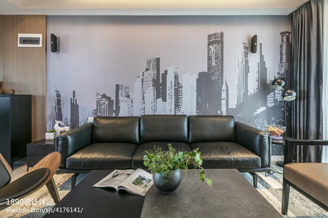 精美面积104平简约三居客厅装修效果图
