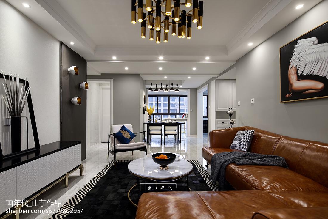 热门面积128平新古典四居客厅欣赏图片