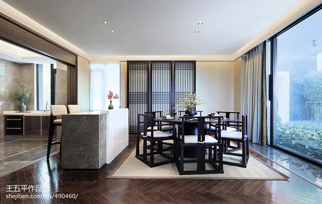 热门面积122平别墅餐厅中式实景图片大全